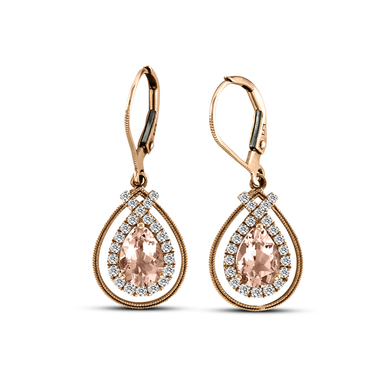 Pear Shape Morganite and Diamond Earrings,14K Rose Gold