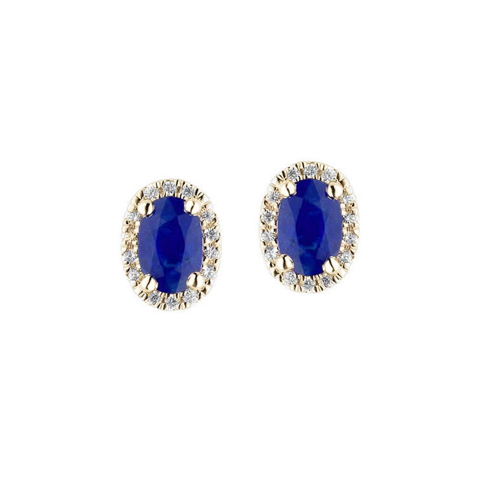Oval Sapphire with Diamond Halo Earrings, 14K Yellow Gold