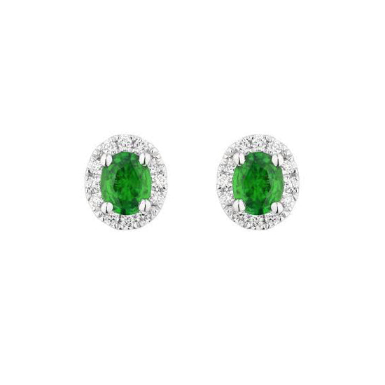 Oval Emerald and Diamond Stud Earrings, 14K White Gold