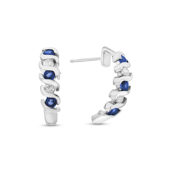 Sapphire and Diamond Half Hoop Earrings, 14K White Gold