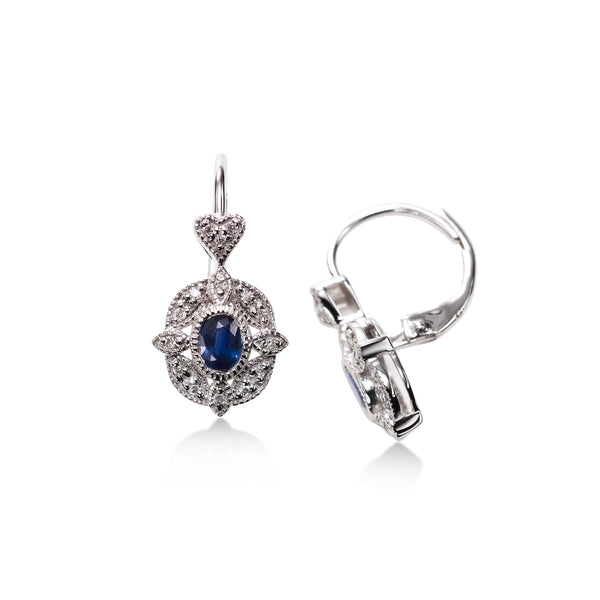 Oval Blue Sapphire and Diamond Filigree Earrings, 14K White Gold