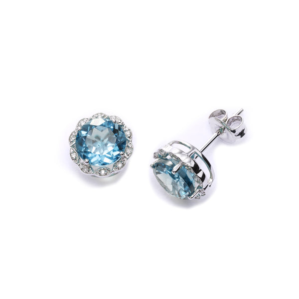 Round Faceted Blue Topaz and Diamond Earrings, 14K White Gold