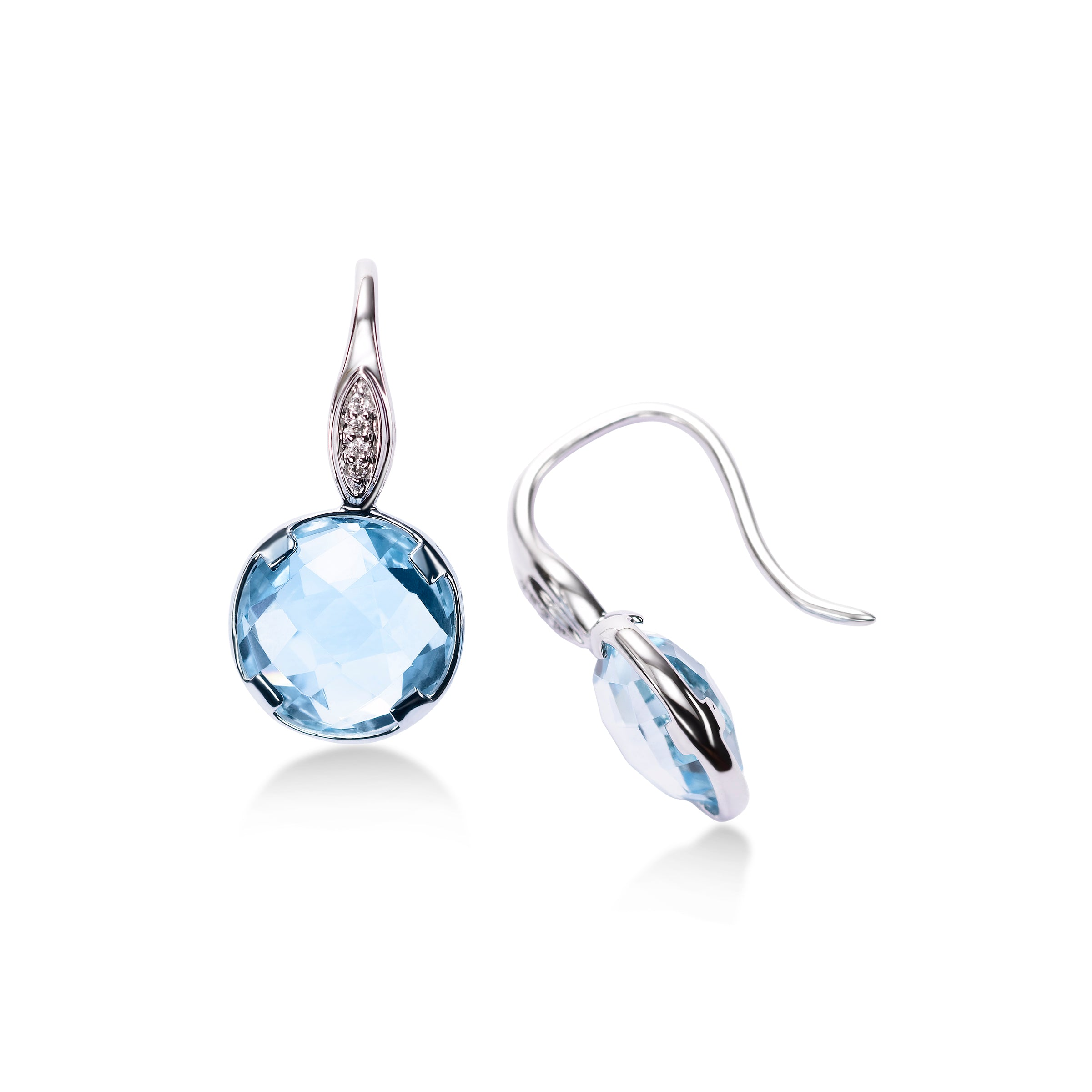 Bezel Set Blue Topaz Drop Earrings, 14K White Gold
