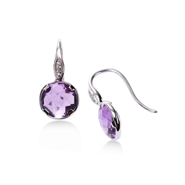 Bezel Set Amethyst Drop Earrings, 14K White Gold