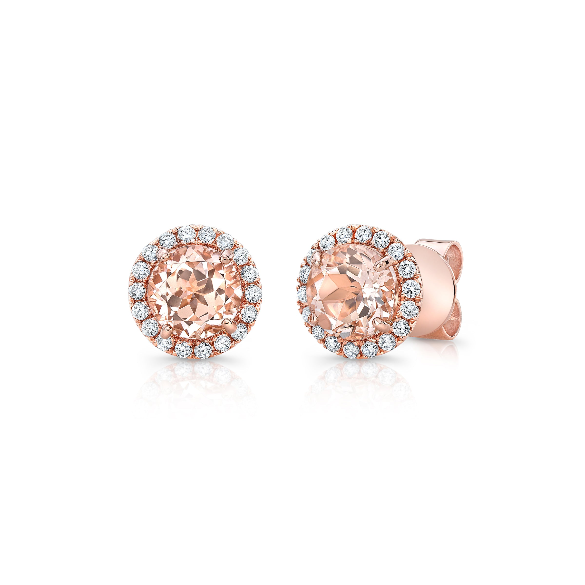 Morganite and Diamond Halo Earrings,14K Rose Gold