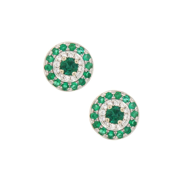 Emerald and Diamond Stud Earrings, 14K White Gold