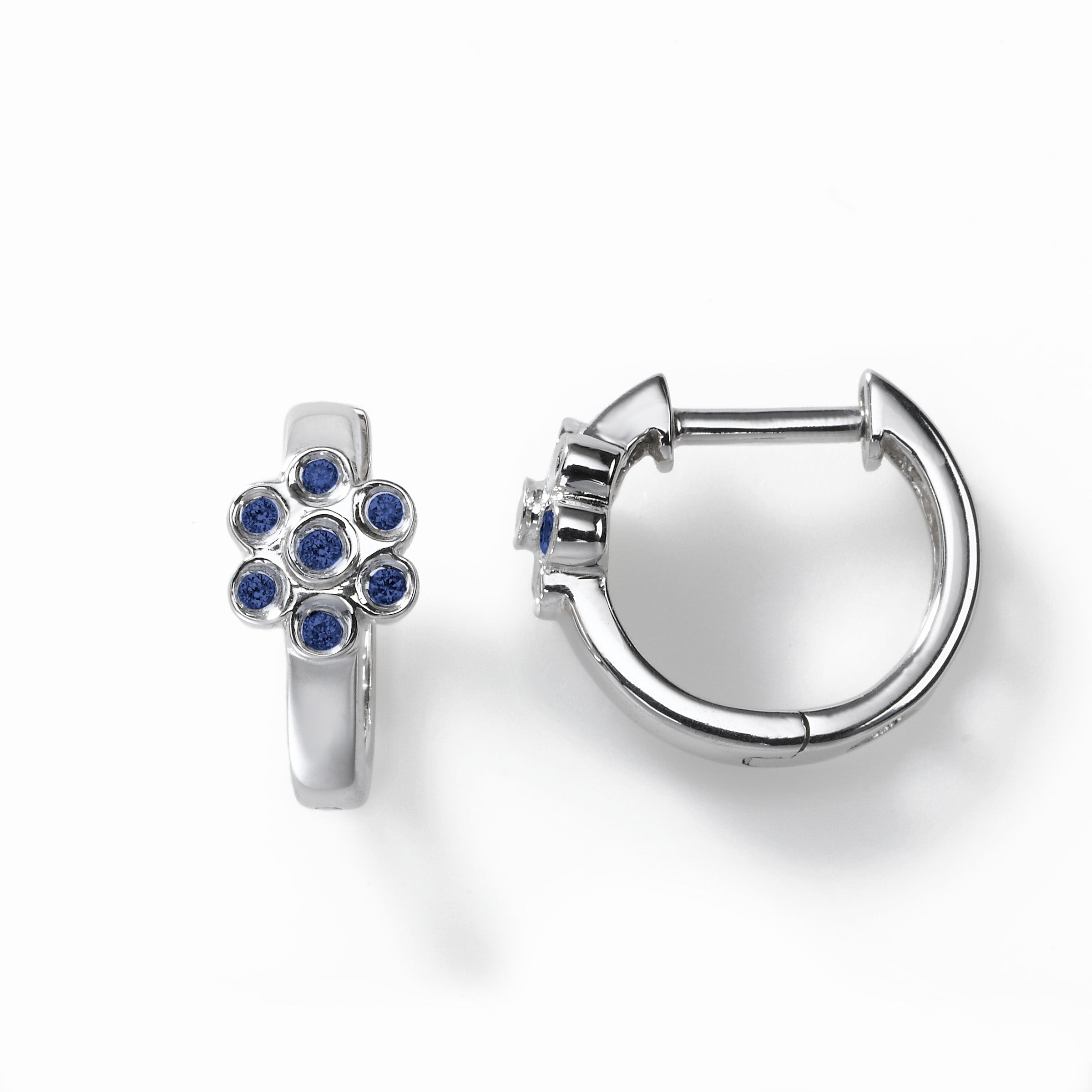 Child's Small Sapphire Flower Hinged Hoops, 14K White Gold