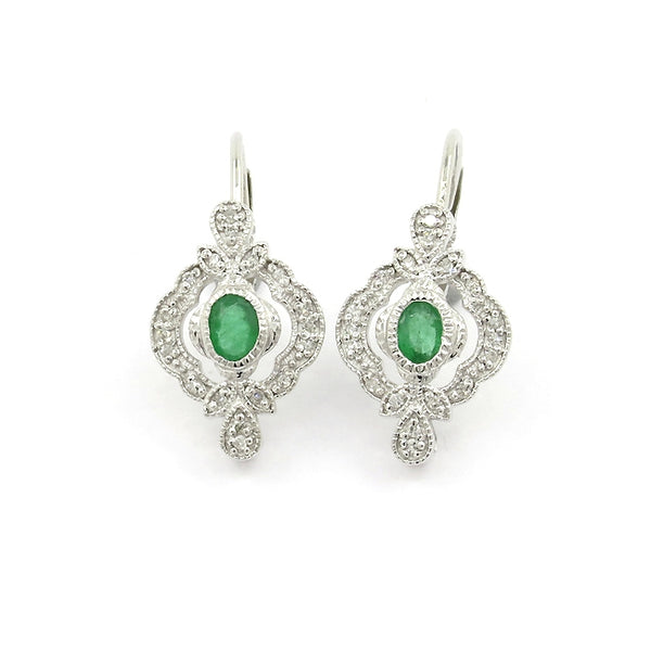 Vintage Style Emerald and Diamond Earrings, 14K White Gold