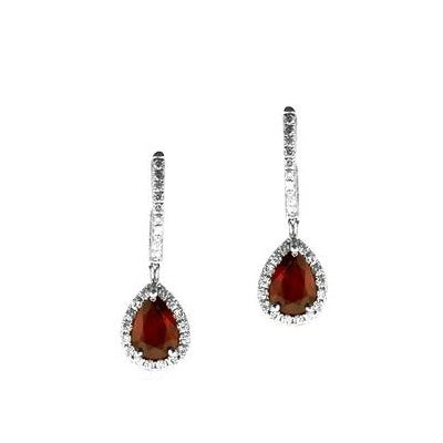Pear Shaped Ruby and Diamond Drop Earrings, 14K White Gold