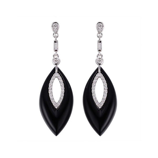 Marquise Shape Black Agate and Diamond Dangle Earrings, 14K White Gold