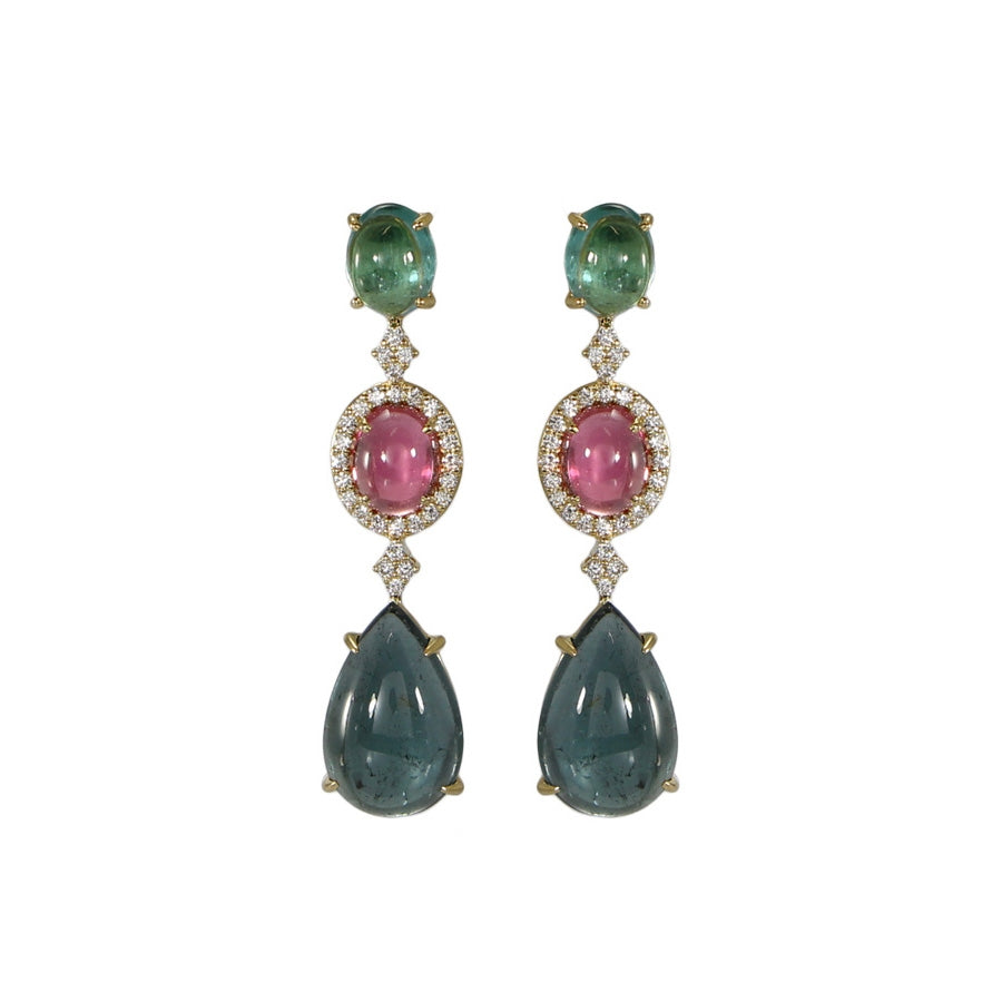 Green and Pink Tourmaline Dangle Earrings, 18K Yellow Gold