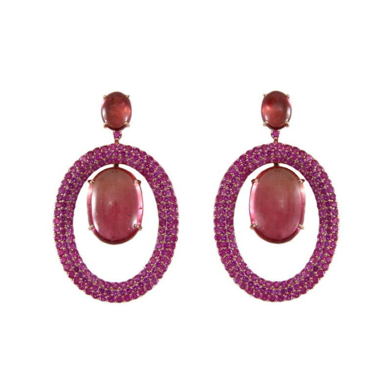 Pink Tourmaline and Ruby Chandelier Earrings, 18K Yellow Gold