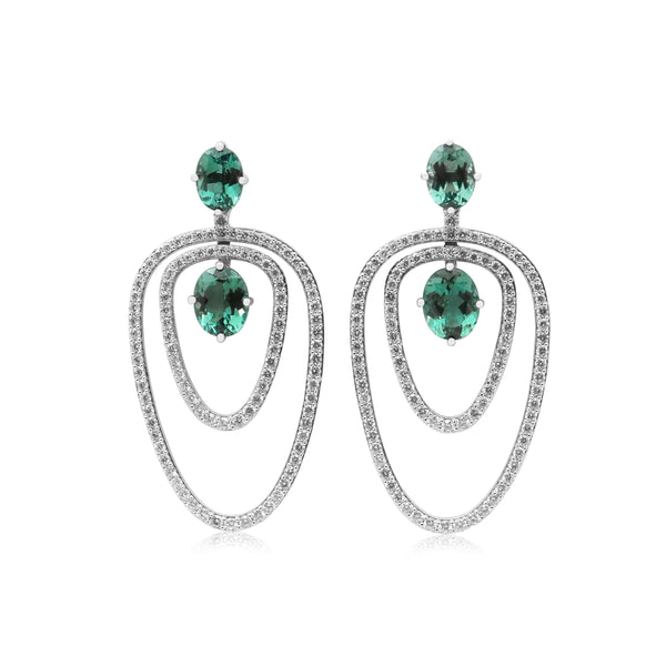 Green Tourmaline and Diamond Dangle Earrings, 18K White Gold