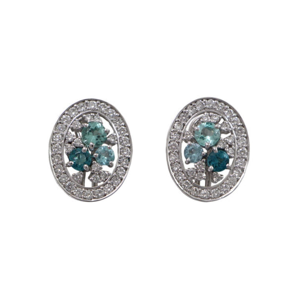 Paraiba Tourmaline and Diamond Earrings, 18K White Gold