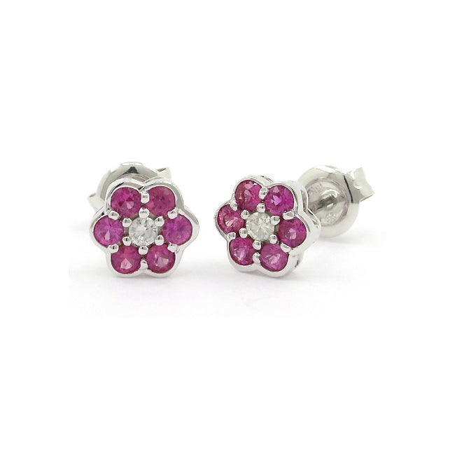 Ruby and Diamond Flower Earrings, 14K White Gold