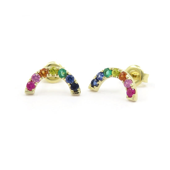 Multi Color Gemstone Rainbow Earrings, 14K Yellow Gold