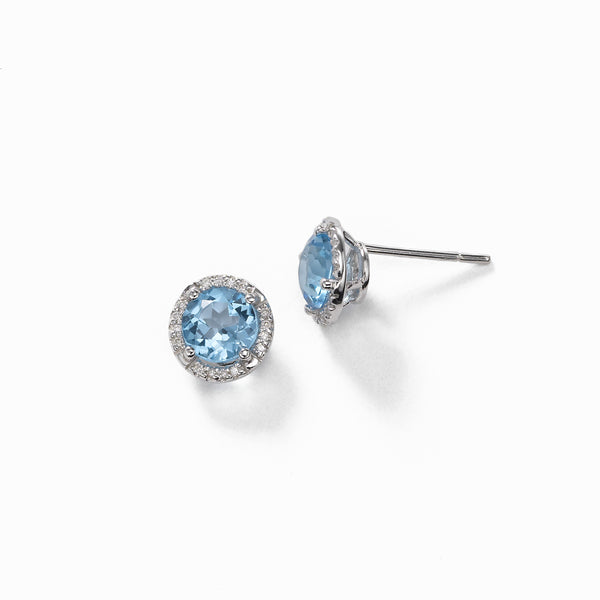 Round Blue Topaz And Diamond Earrings, 14K White Gold