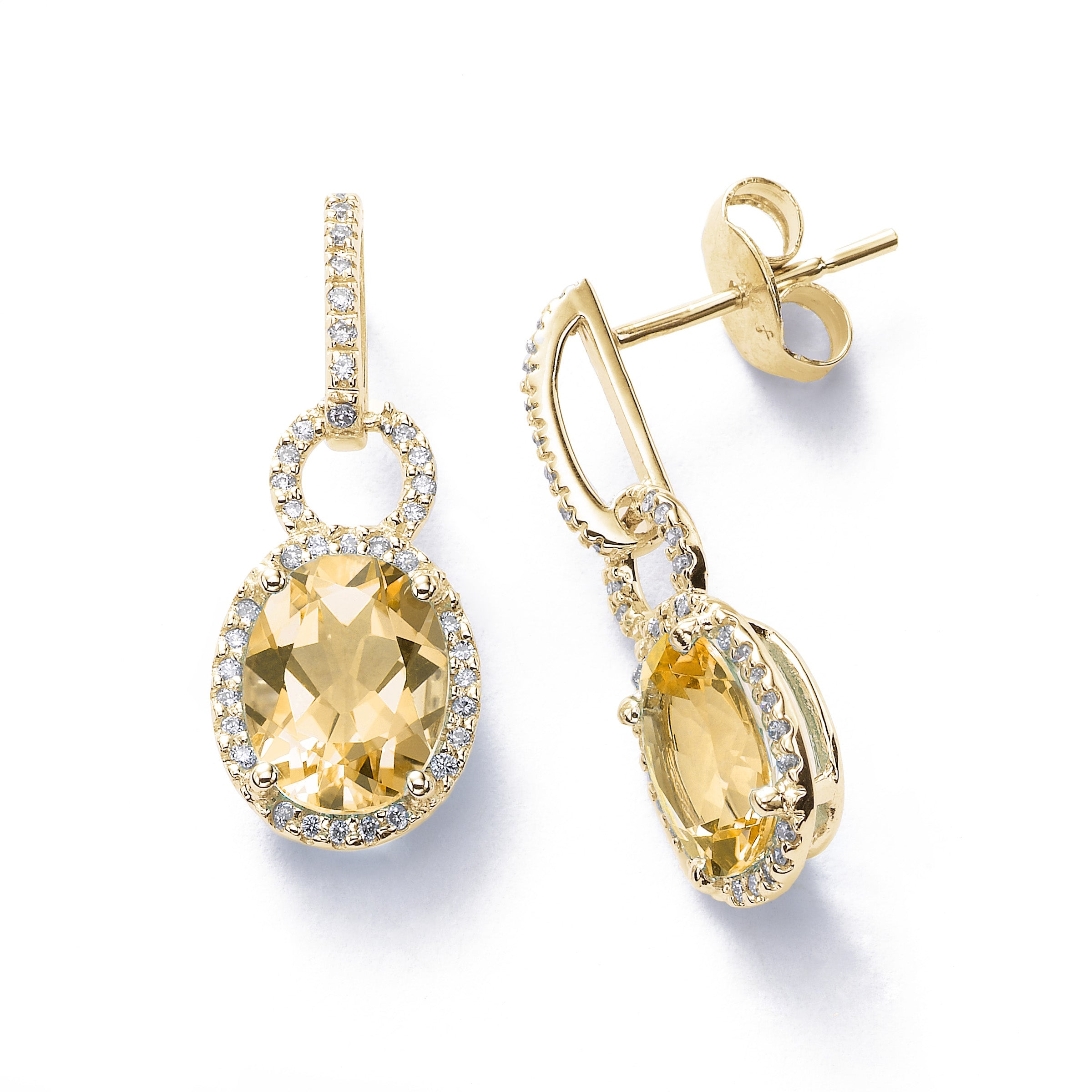 Oval Citrine and Diamond Dangle Earrings, 14K Yellow Gold