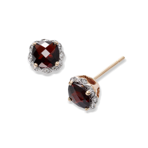 Faceted Garnet and Diamond Earrings, 14K Yellow Gold