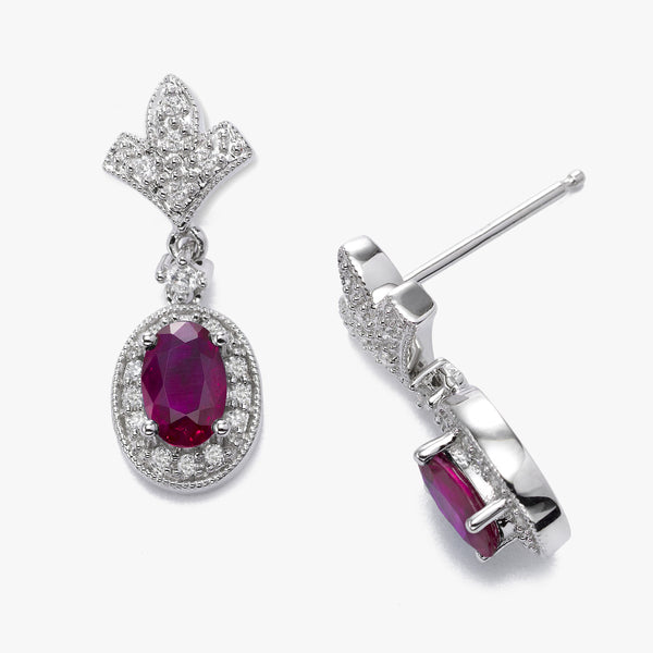 Oval Ruby and Diamond Dangle Earrings, 14K White Gold