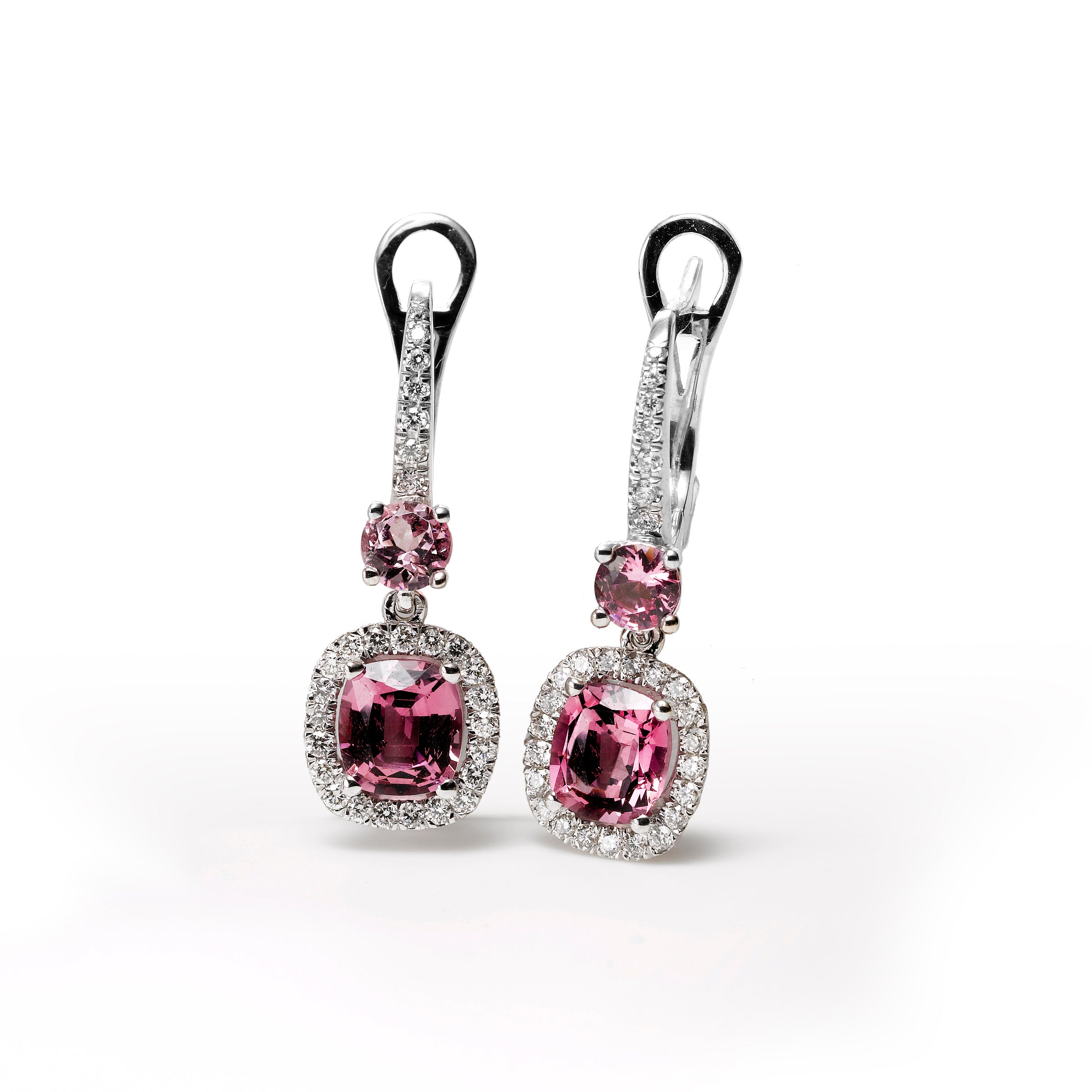 Oval Pink Spinel and Diamond Dangle Earrings, 18K White Gold