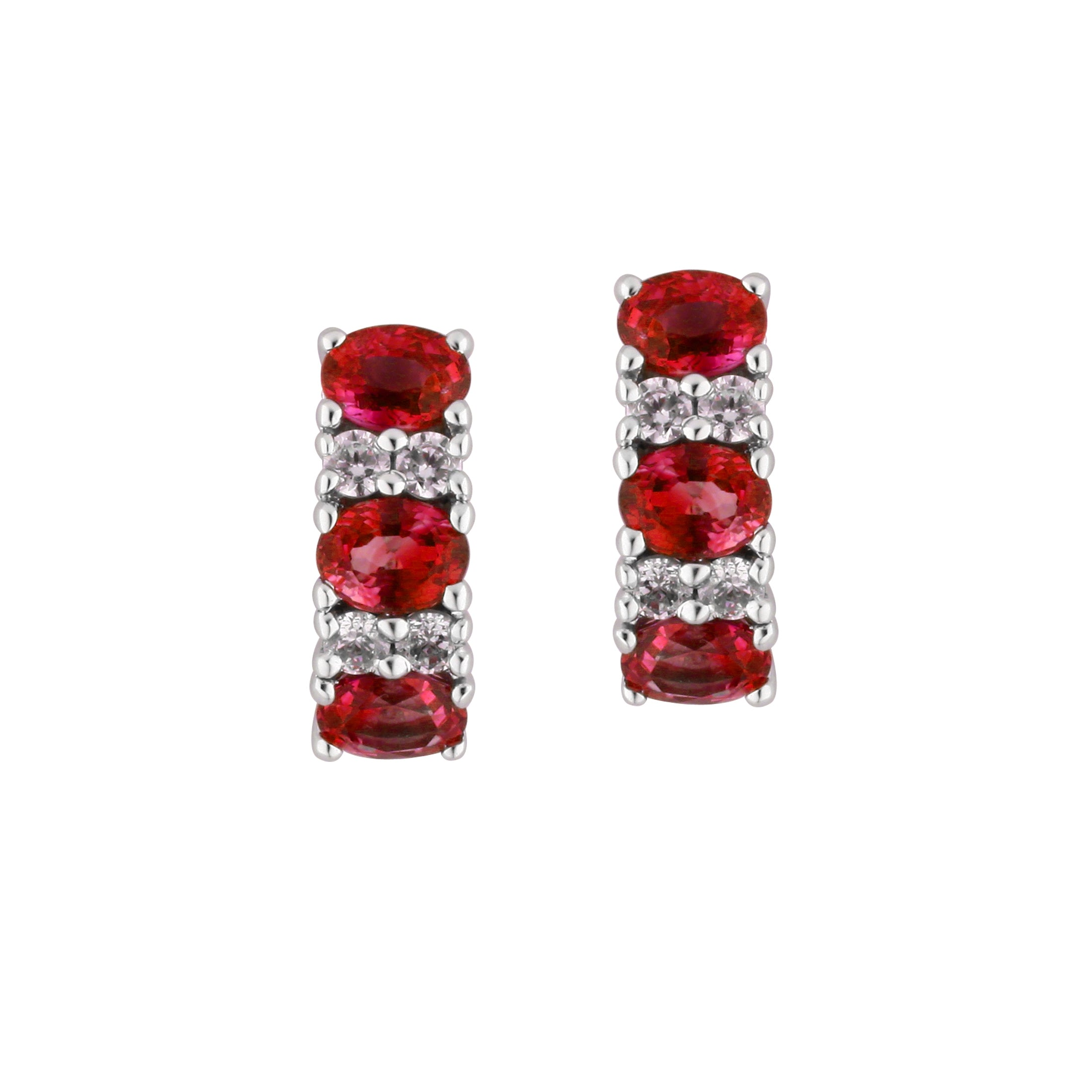 Ruby and Diamond Half Hoop Earrings, 14K White Gold