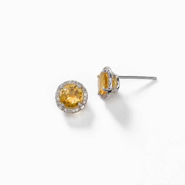 Round Citrine And Diamond Earrings, 14K White Gold