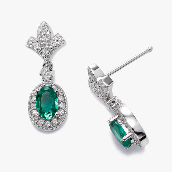 Oval Emerald and Diamond Dangle Earrings, 14K White Gold