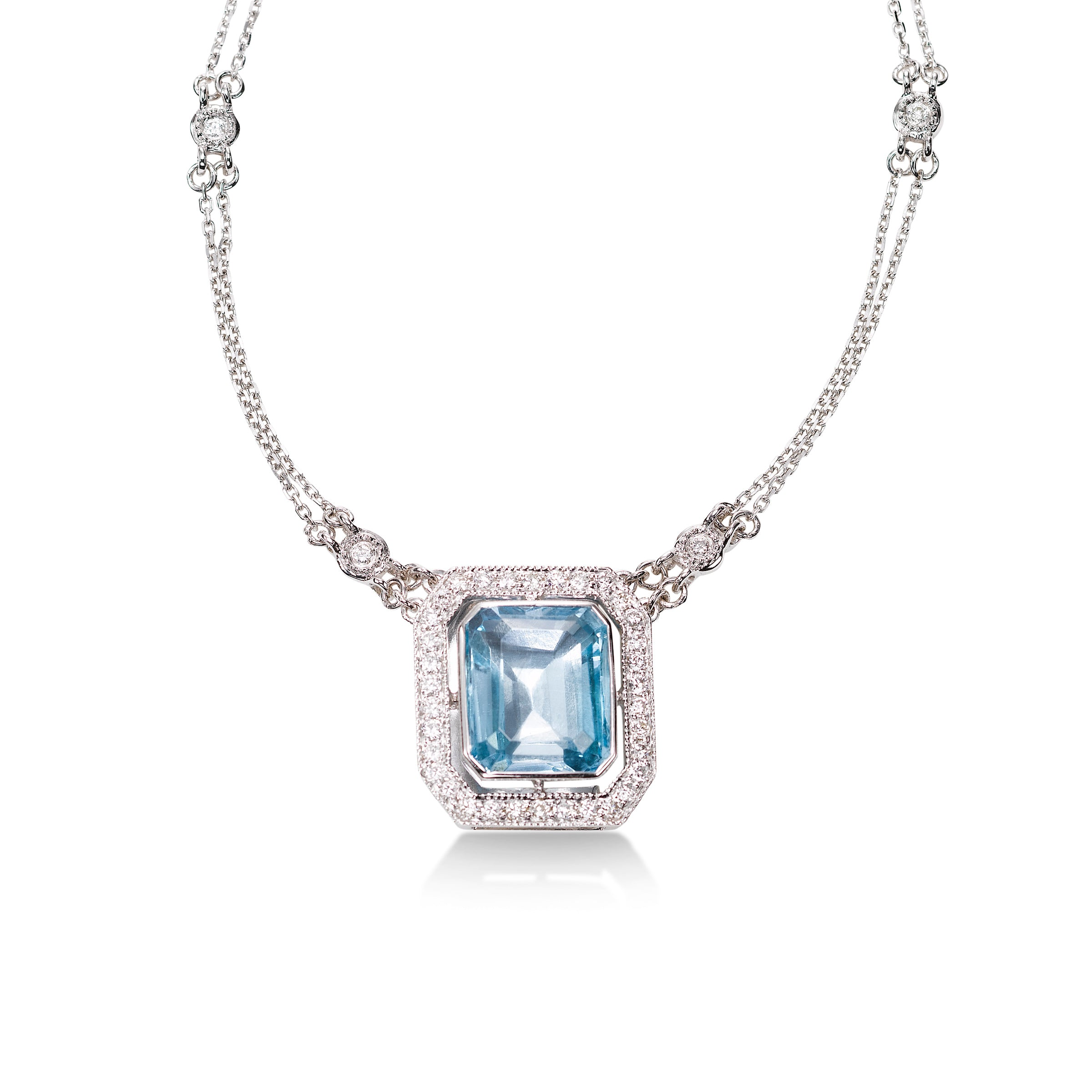 Emerald Cut Blue Topaz and Diamond Necklace, 14K White Gold