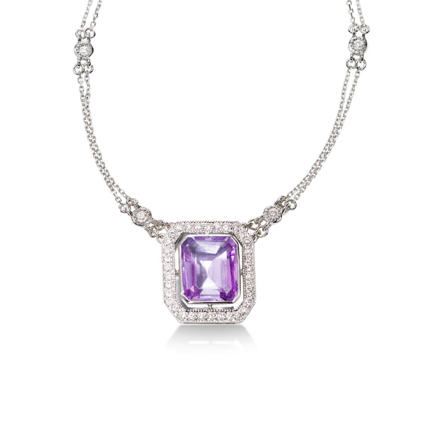Emerald Cut Amethyst and Diamond Necklace, 14K White Gold