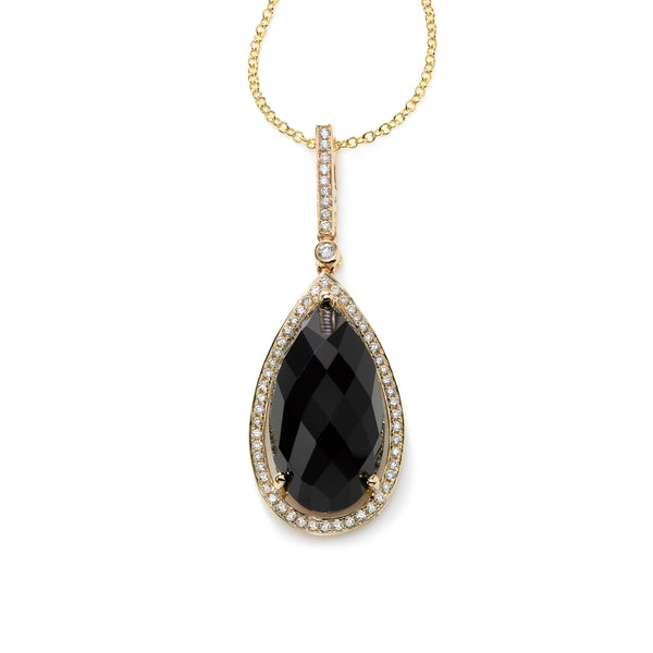 Pear Shape Onyx Pendant with Diamonds, 14K Yellow Gold