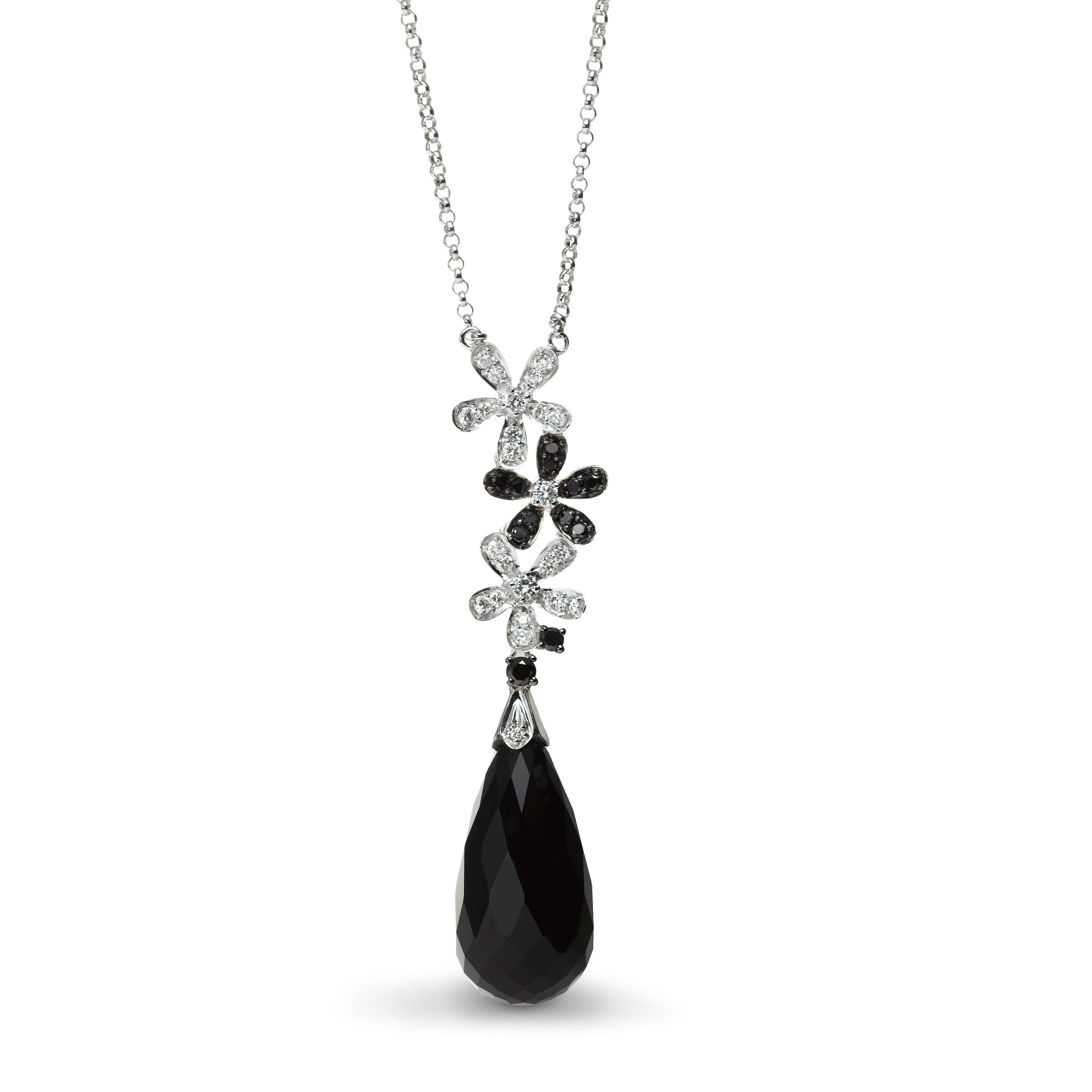 Black Agate and Diamond Necklace, 14K White Gold