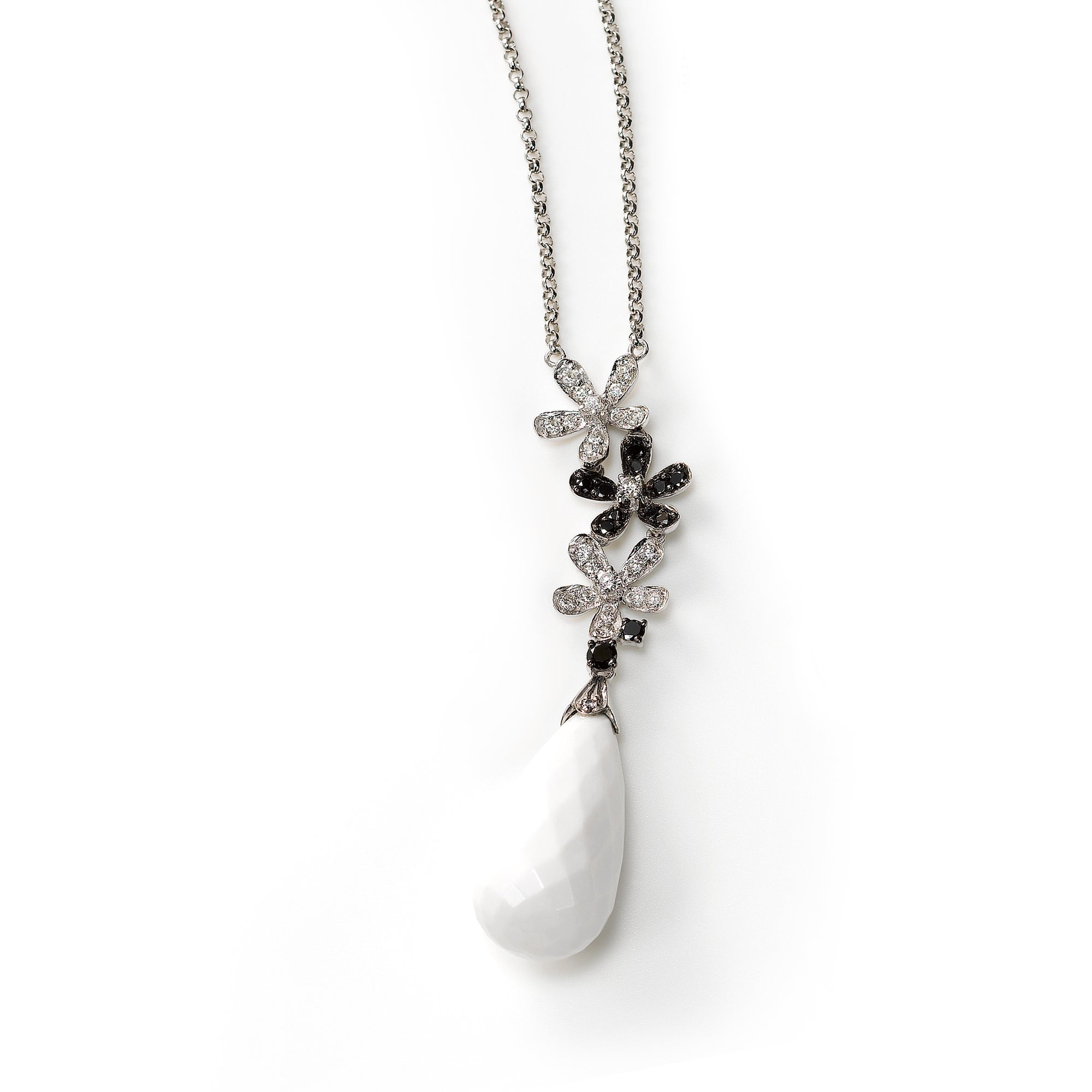 White Agate and Diamond Necklace, 14K White Gold