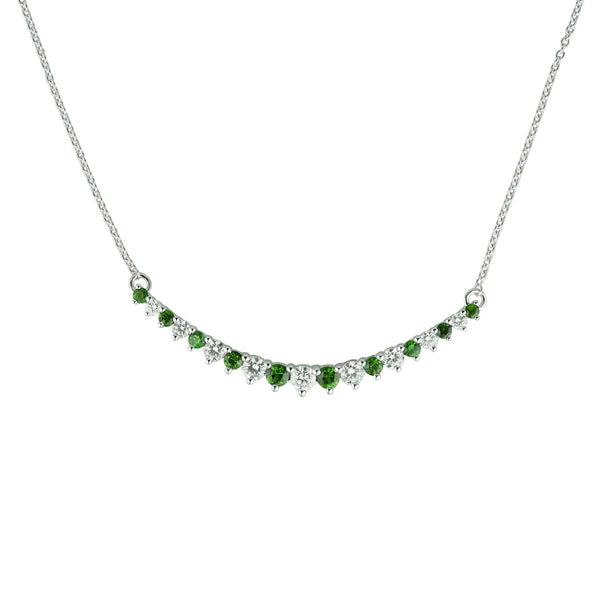 Emerald and Diamond Bar Necklace, 14K White Gold