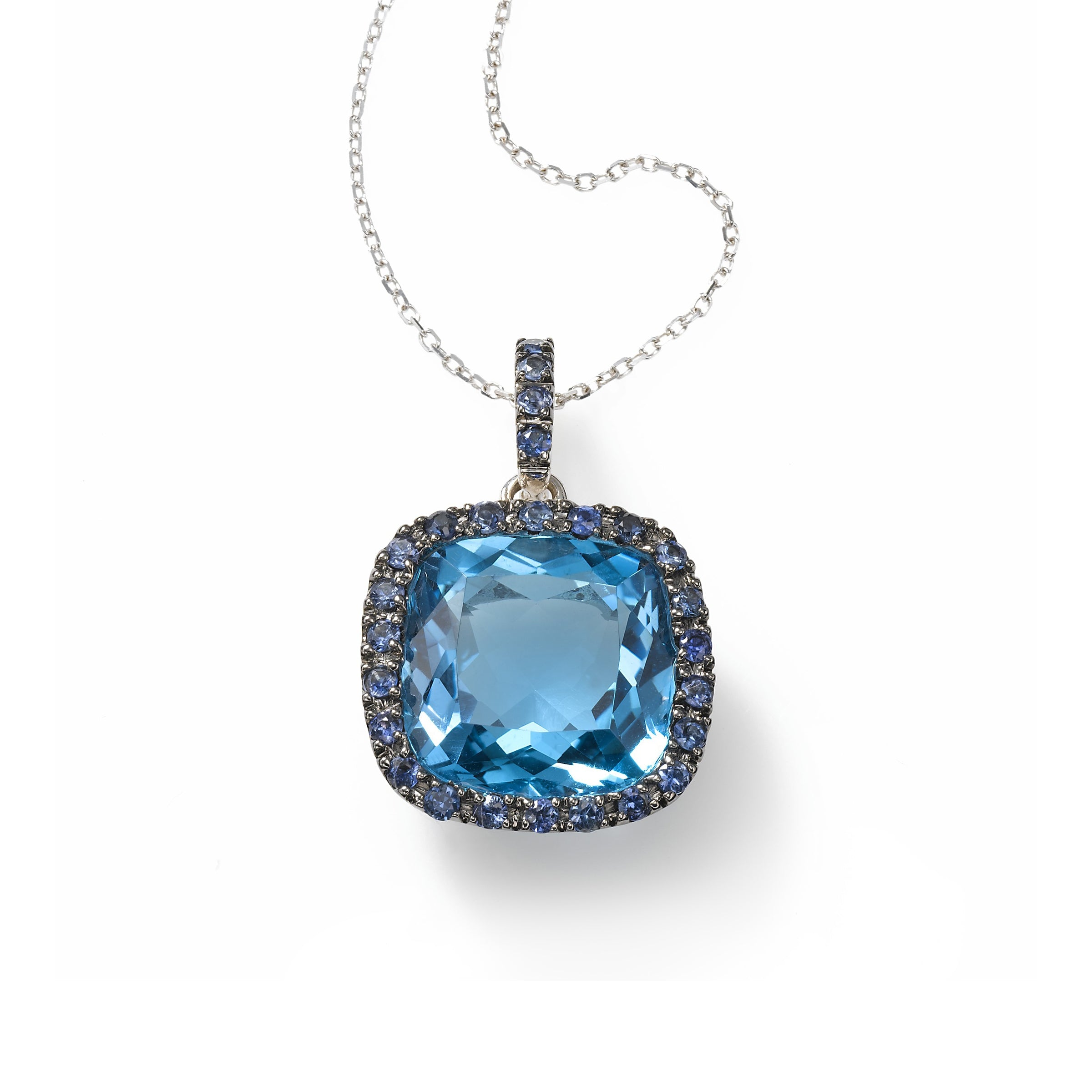 Blue Topaz and Blue Sapphire Pendant,14K White Gold