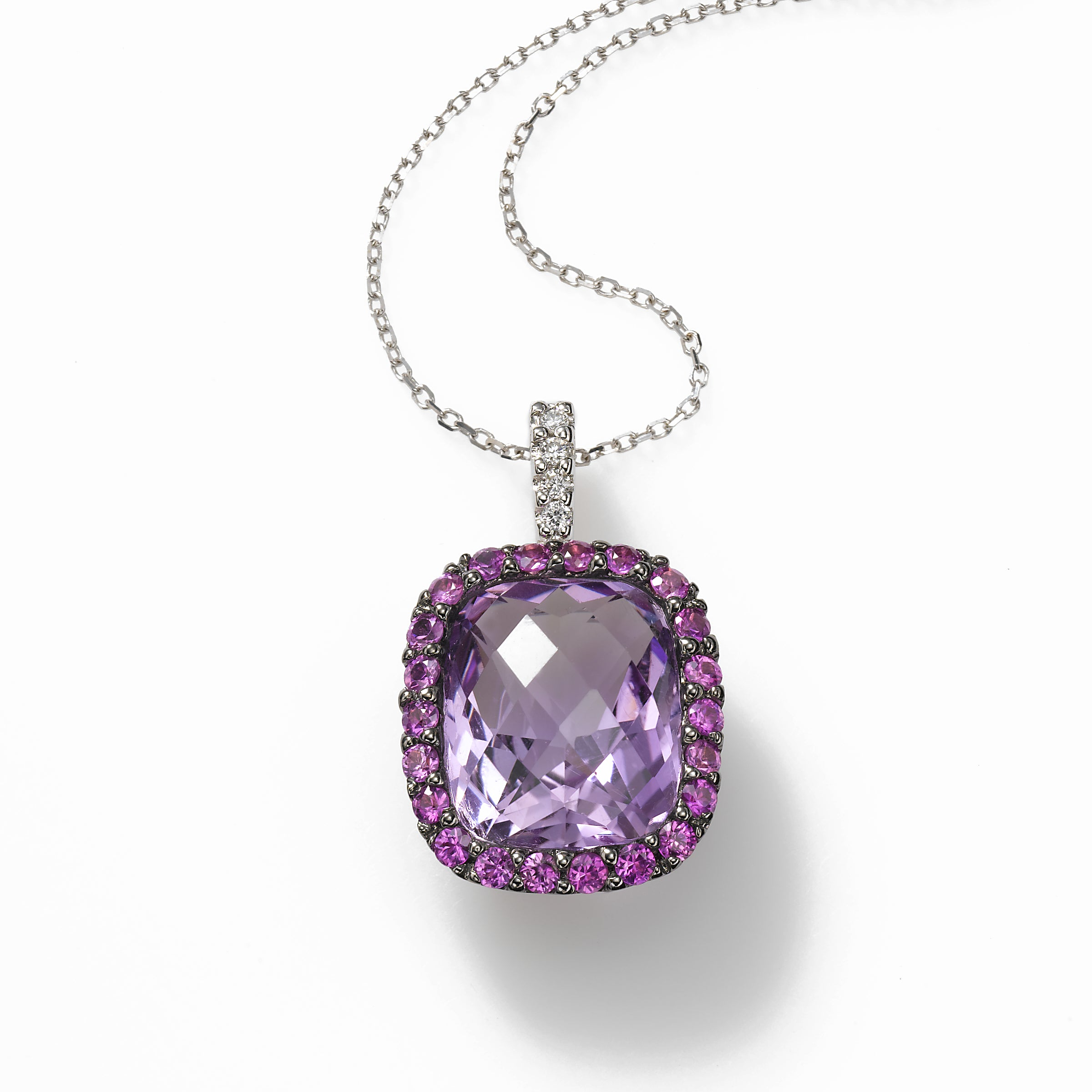 Amethyst and Pink Sapphire Pendant, 14k White Gold