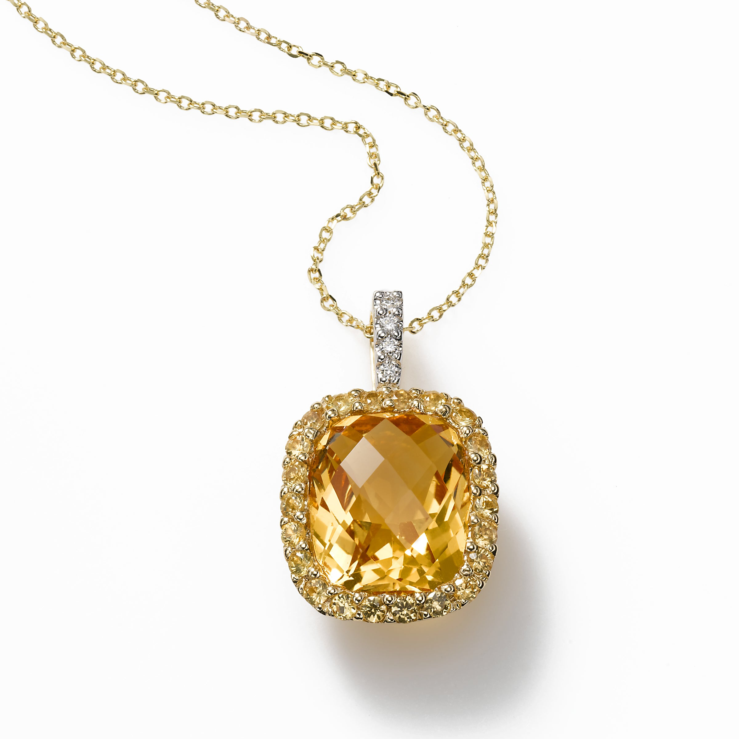 Citrine, Yellow Sapphire with Diamond Pendant, 14K Yellow Gold