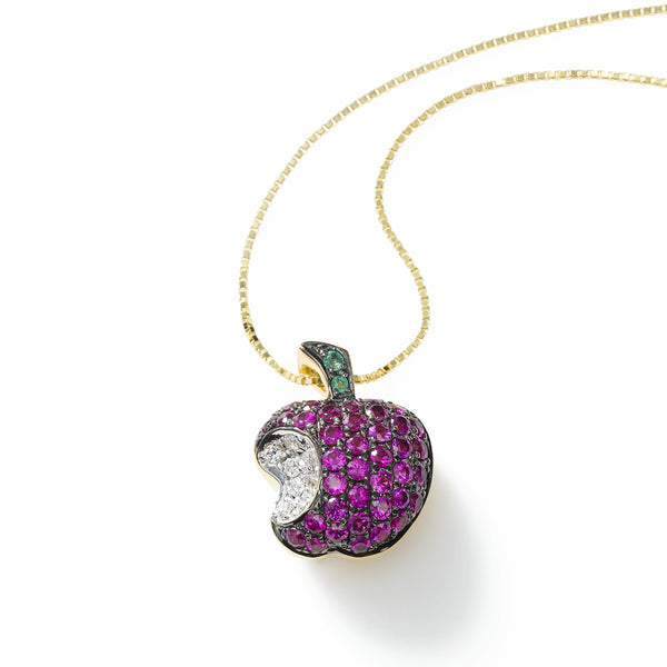 Apple Charm of Gemstones and Diamonds, 18K Yellow Gold