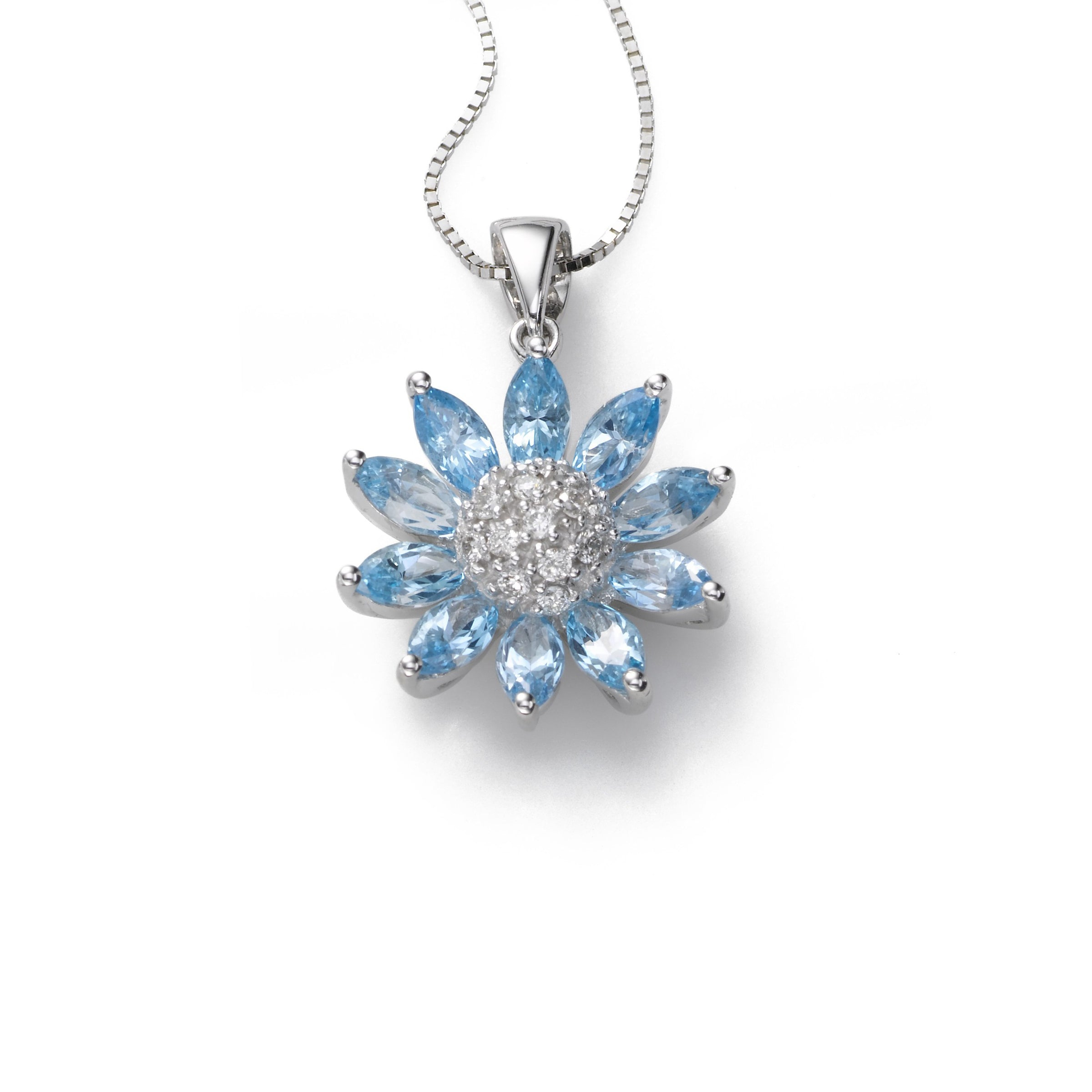 Flower Shaped Blue Topaz Pendant, 14K