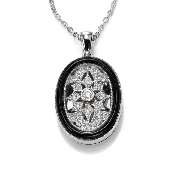 Deco Style Onyx and Diamond Locket, Sterling Silver
