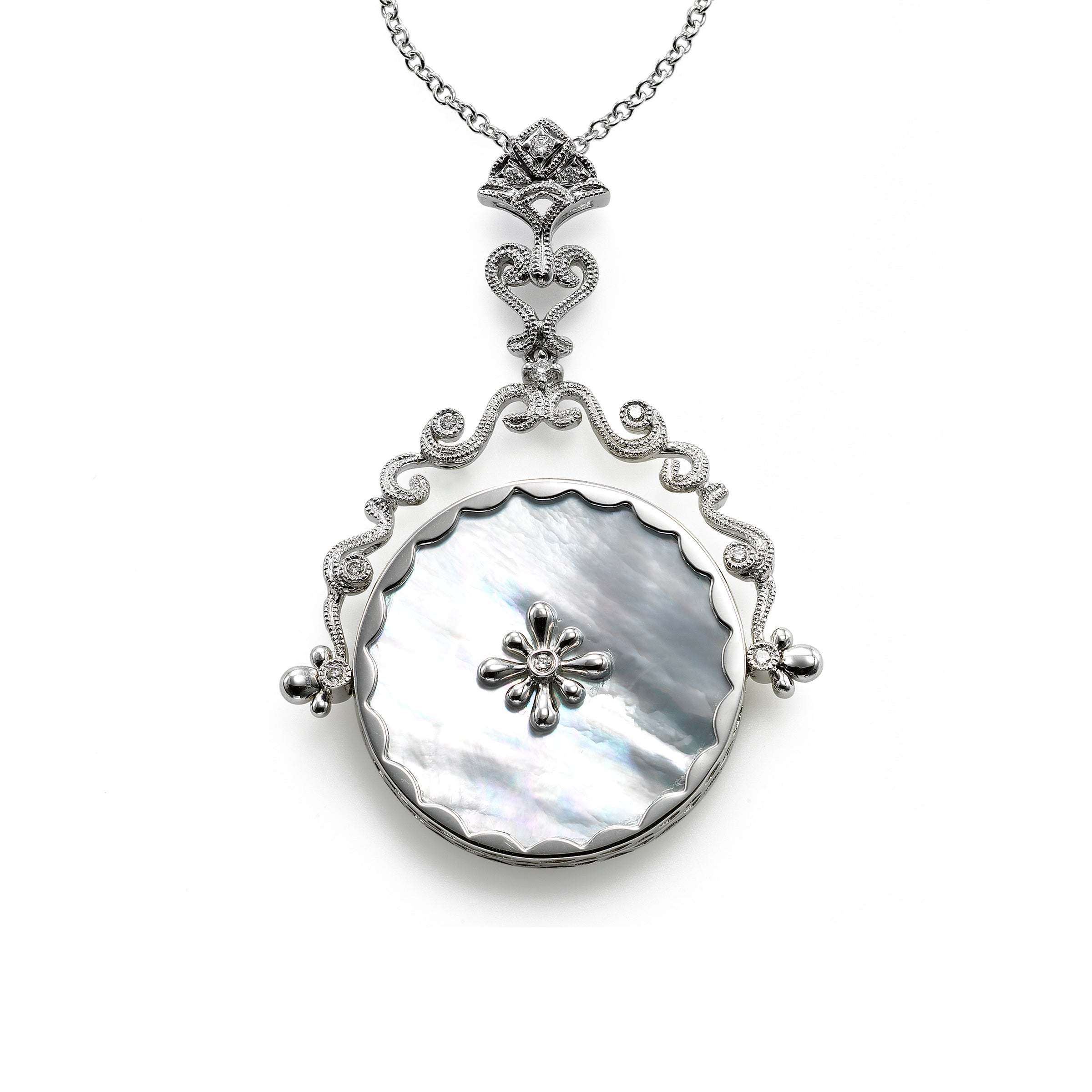 Mother of Pearl Circular Spinner Pendant, 14K White Gold
