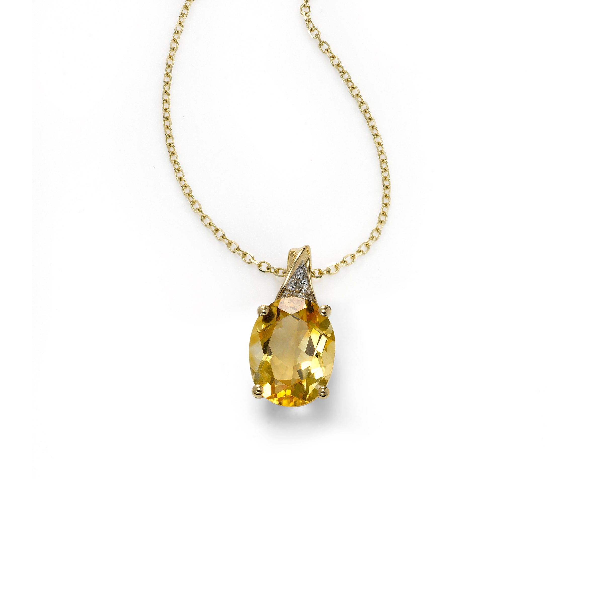 Oval Citrine and Diamond Pendant, 14K Yellow Gold