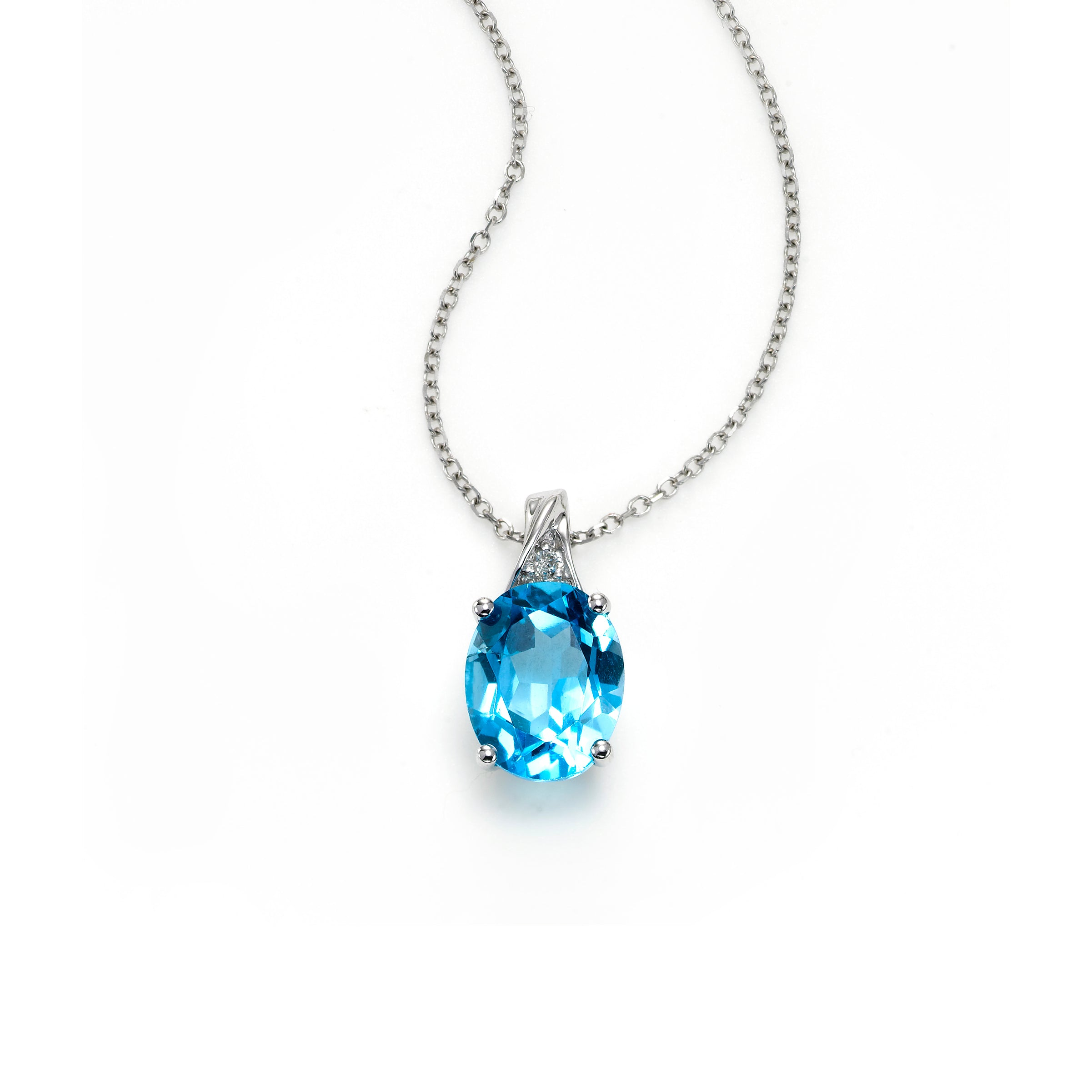 Oval Blue Topaz Pendant with Diamond Accent, 14K White Gold