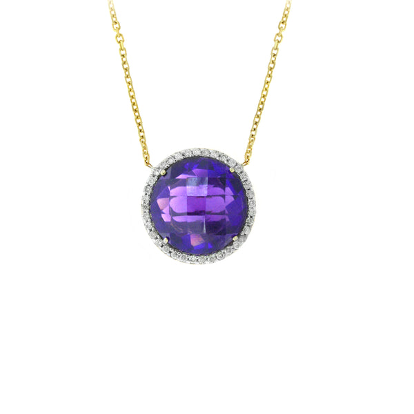 Round Amethyst And Diamond Necklace, 14K Yellow Gold