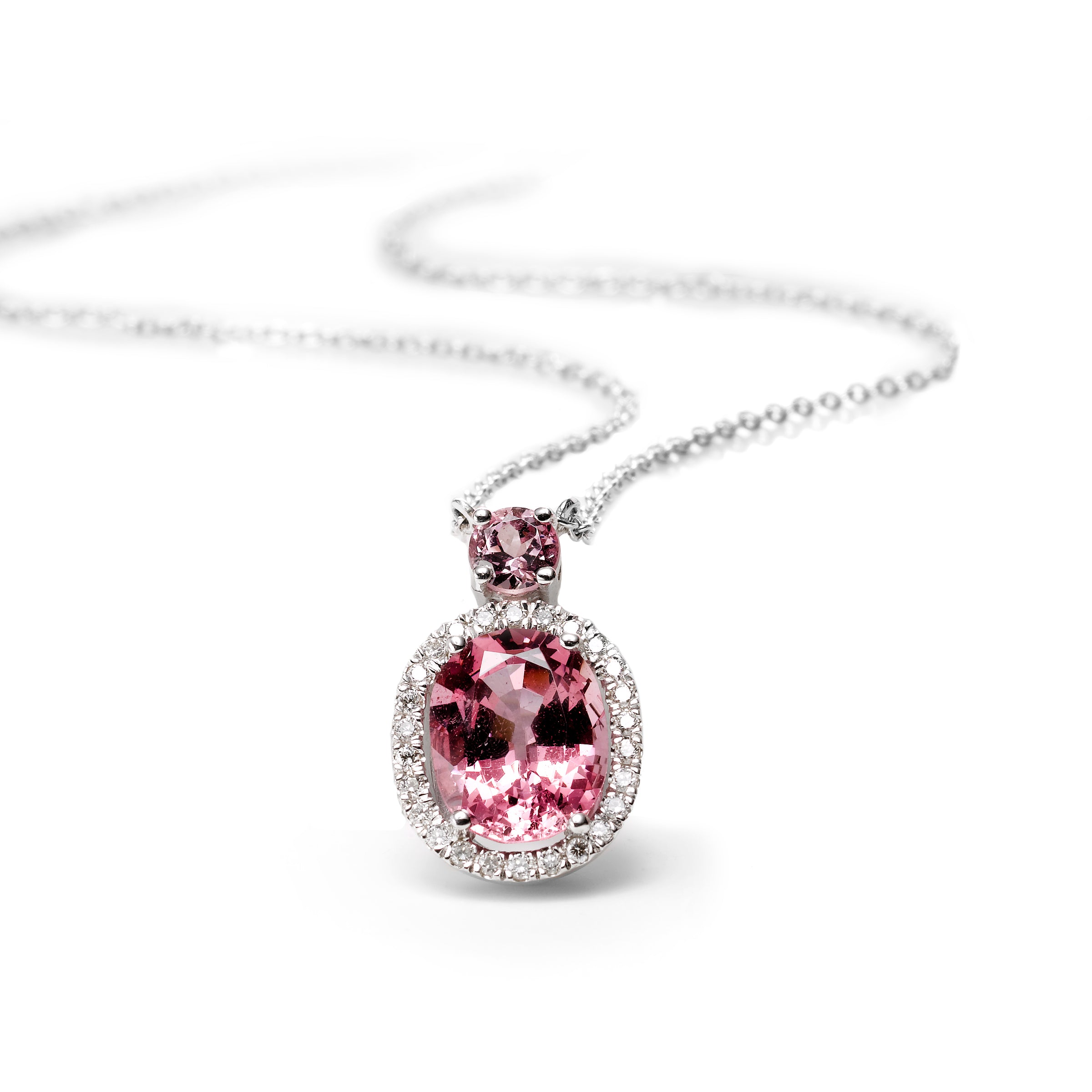 Oval Pink Spinel Pendant with Diamonds, 18K White Gold