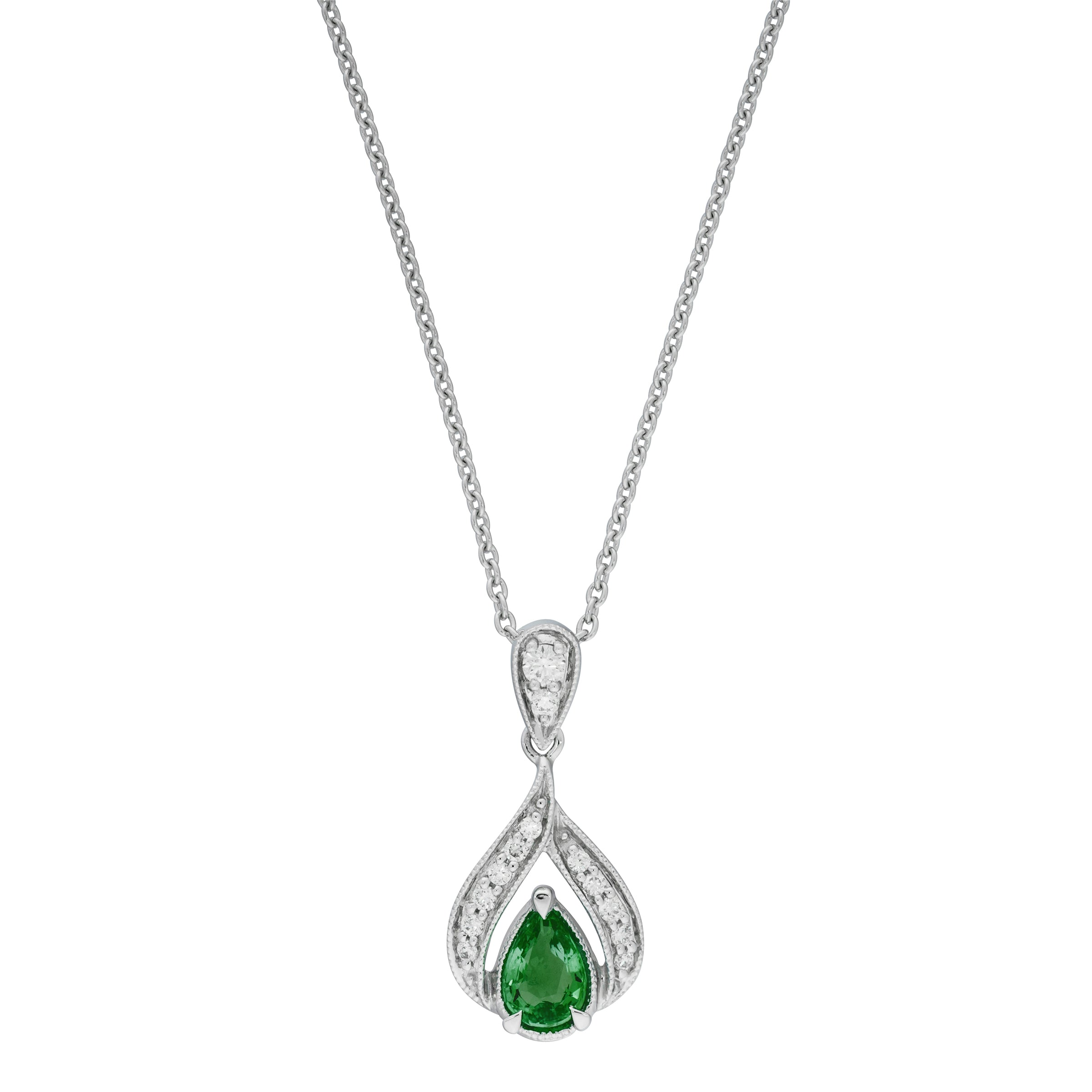 Pear-Shaped Emerald and Diamond Drop Pendant, 14K White Gold