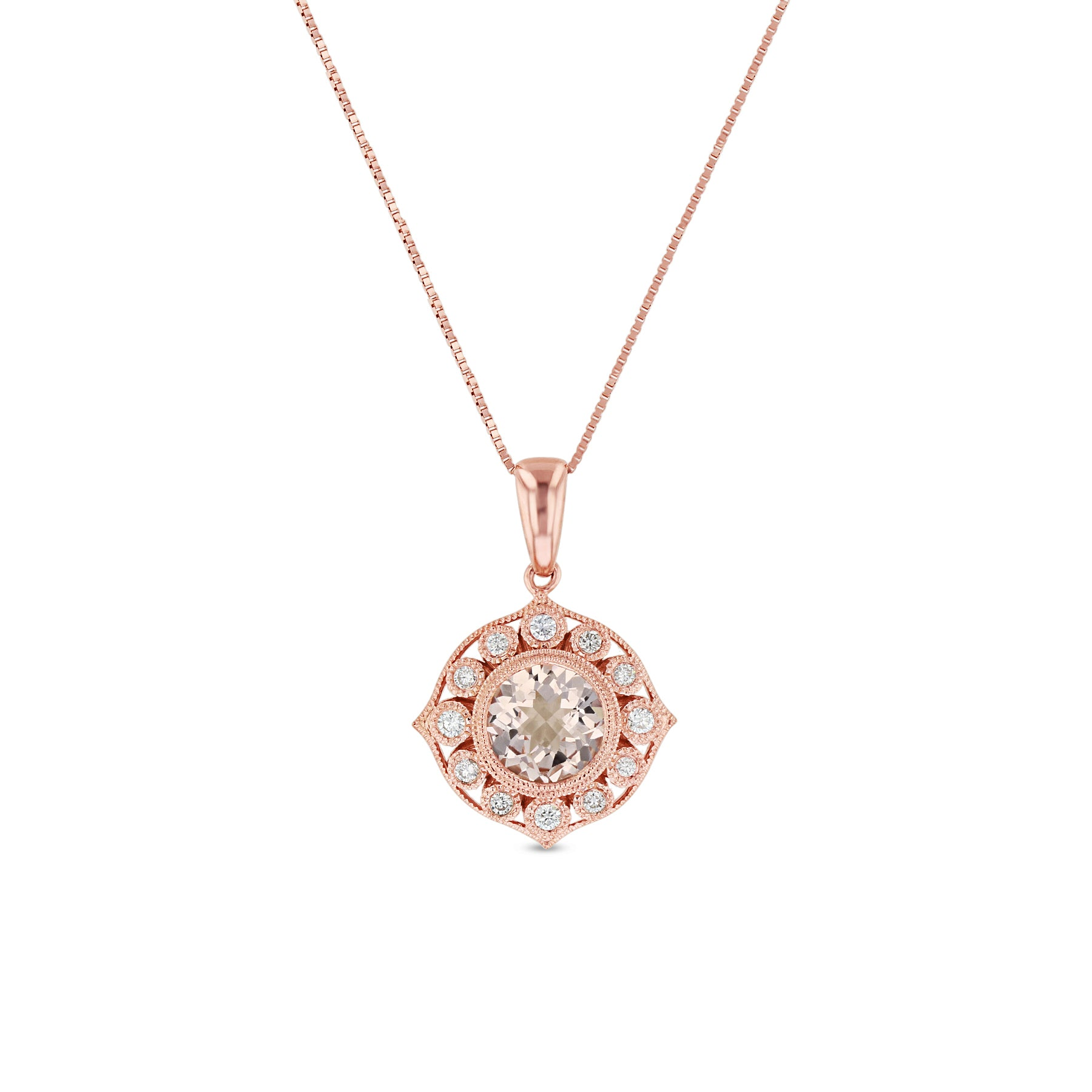 Morganite and Diamond Milgrain Pendant,14K Rose Gold