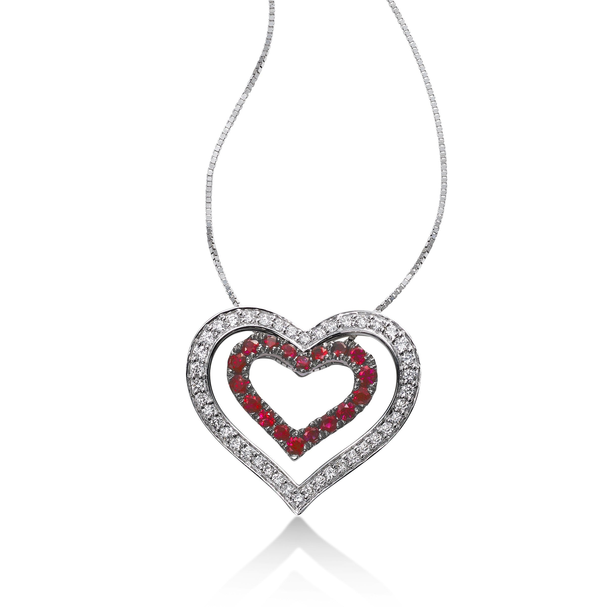 Diamond and Ruby Nested Heart Pendant, 14K White Gold