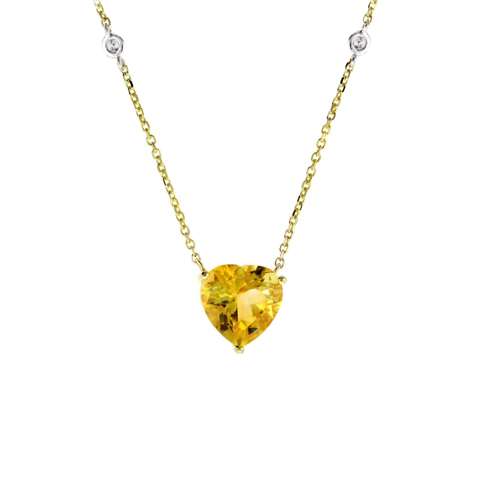 Citrine Heart Necklace With Diamond Accent, 14K Yellow Gold