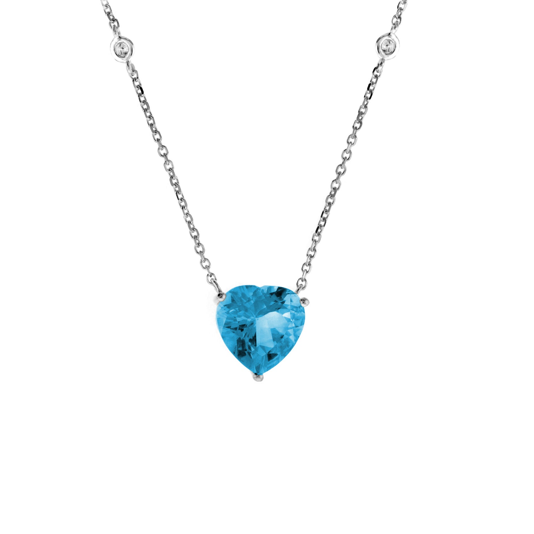 Blue Topaz Heart Necklace with Diamond Accent, 14K White Gold